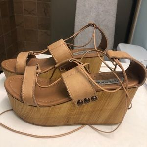 Steve Madden Lace Up Leather Wedges - Size 7